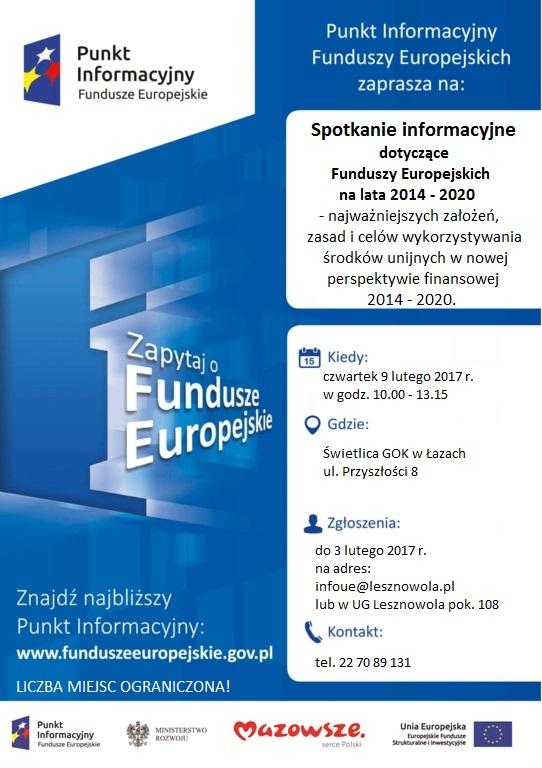 Plakat konsultacji unijnych w Łazach