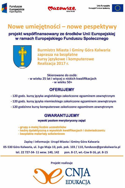 Bezpłatne kursy językowe i komputerowe w Górze Kalwarii