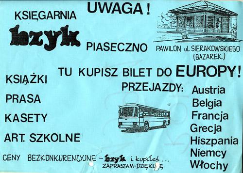 """Reklama dźwignią handlu. Plakat """"Bzyka"""" z 1991 roku."""