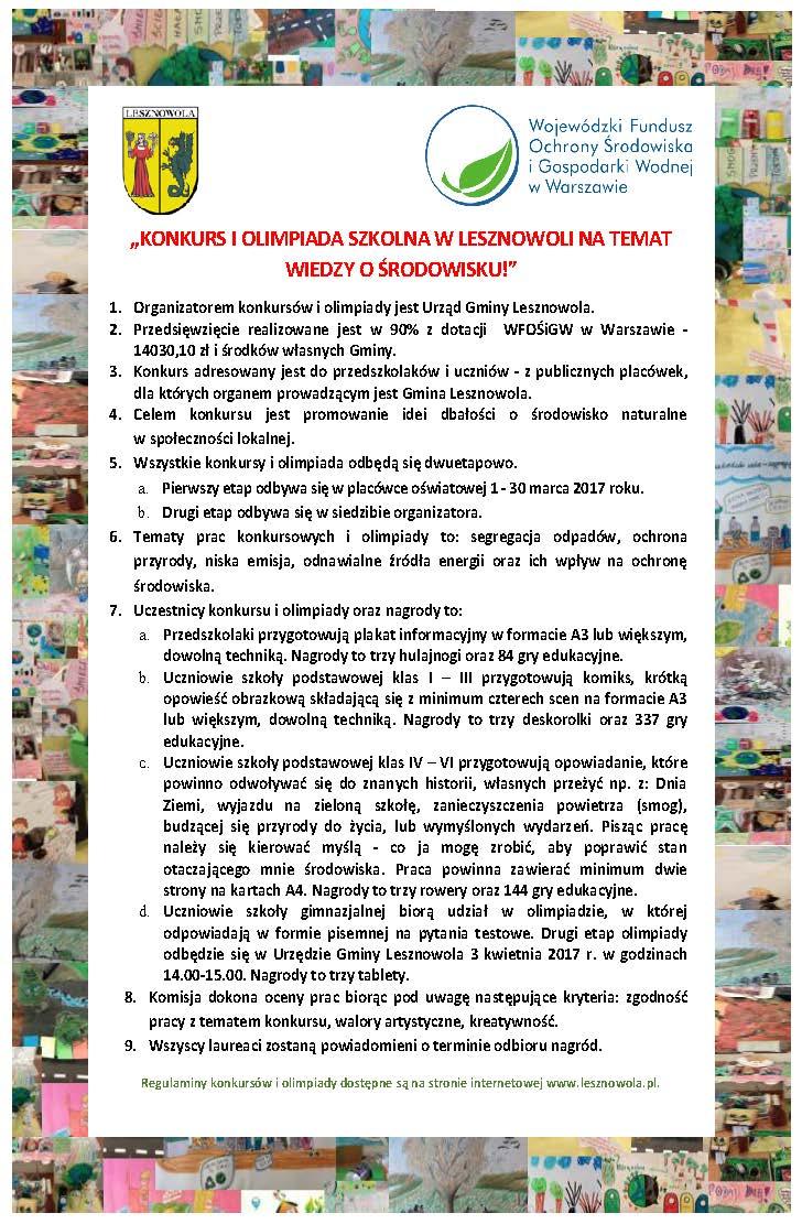 Konkurs ekologiczny dla szkół w Lesznowoli