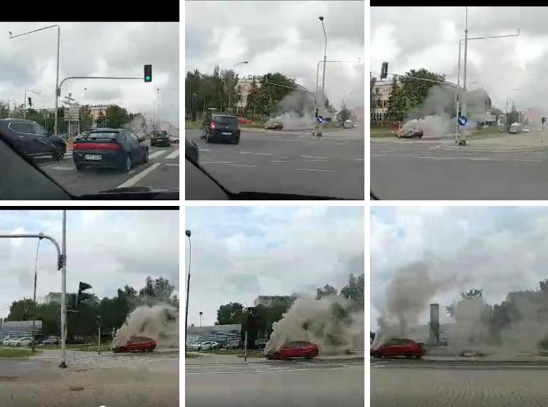 Płonie samochód przy Laminie!