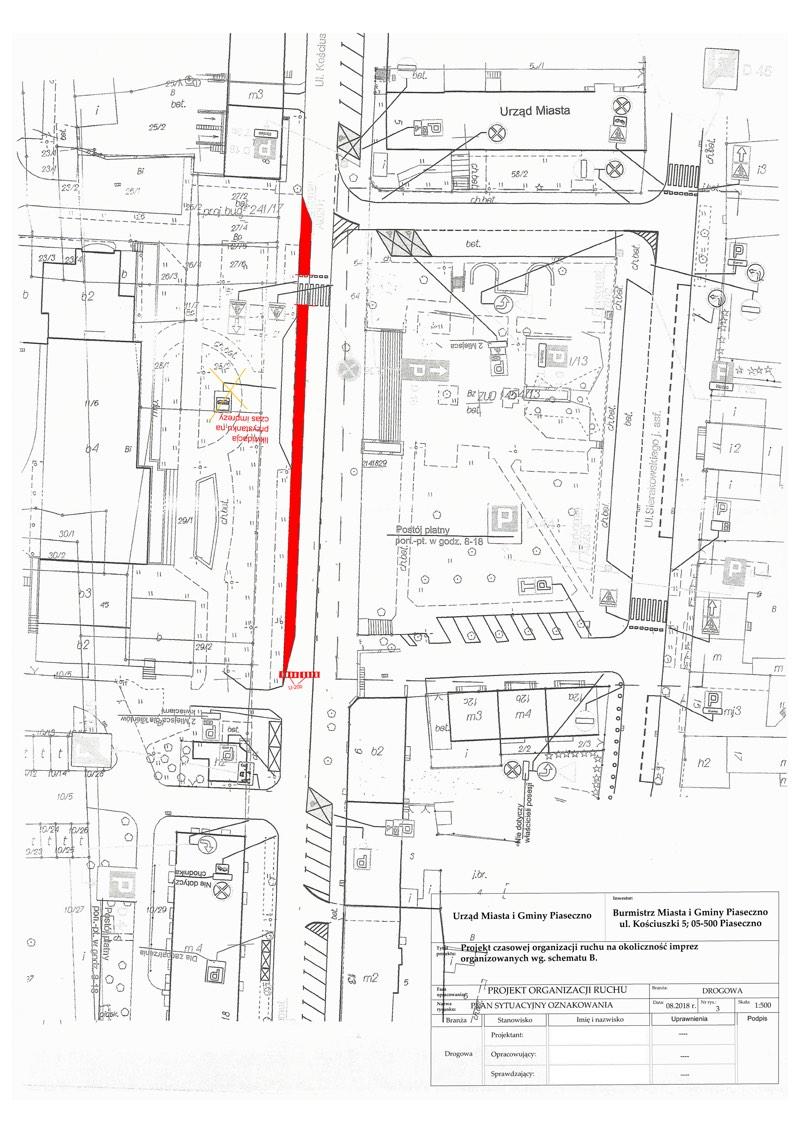 Schemat B ul. Kościuszki / wyłączony przystanek autobusowy