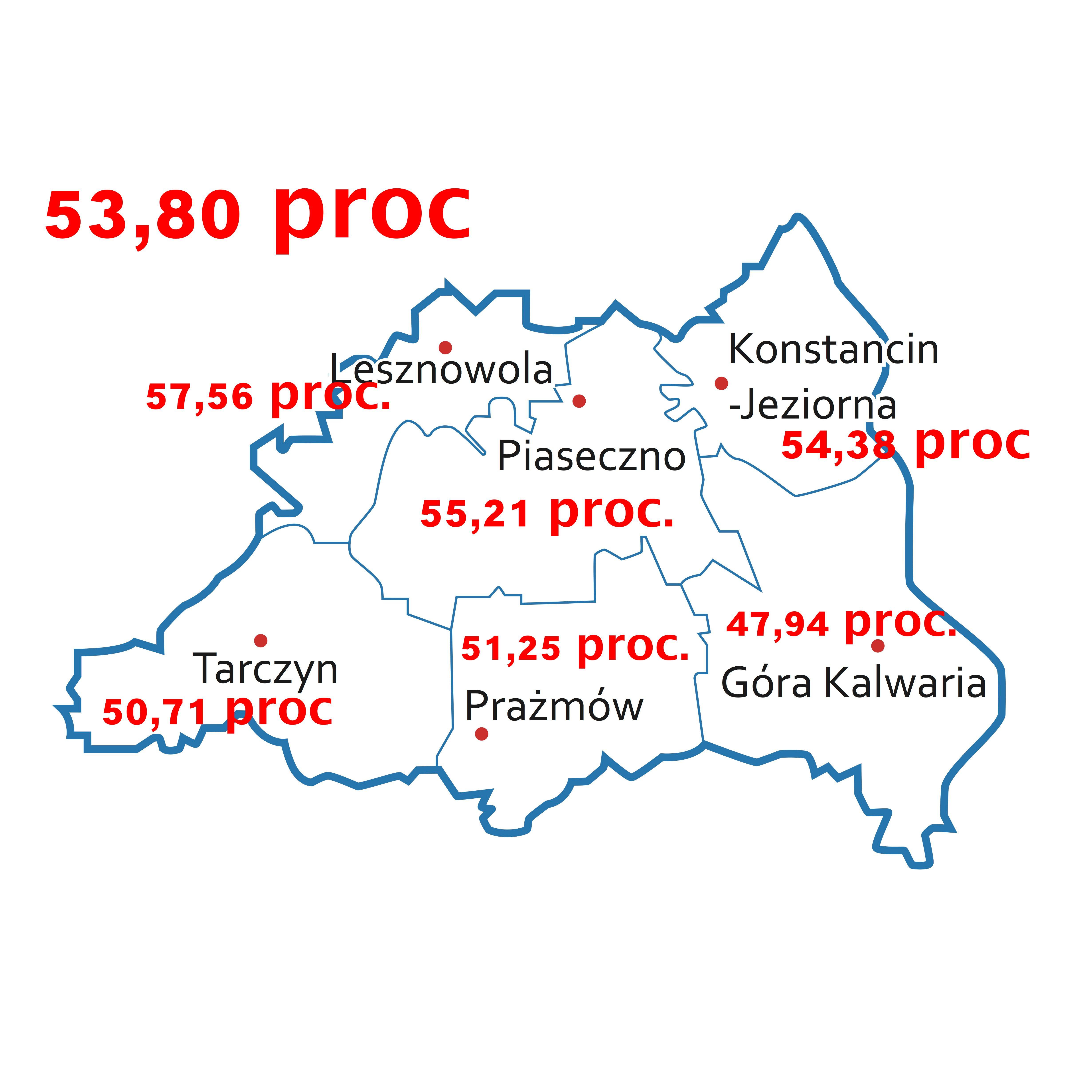 Frekwencja w powiecie piaseczyńskim 72,79 proc. Najwyższa w Lesznowoli, najniższa w Górze Kalwarii [AKTUALIZACJA]
