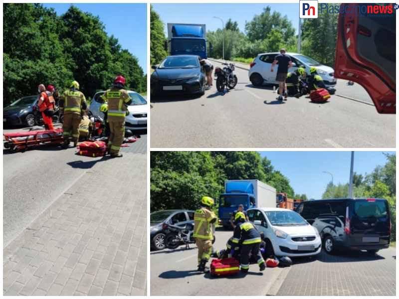 Wypadek, motocyklista poszkodowany